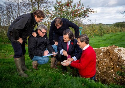 The team inspect the perfect chalky soil for fine sparkling wine