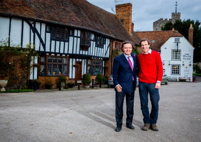 Taittinger's Pierre-Emmanuel Taittinger, with Hatch Mansfield's Patrick McGrath in the heart of Chilham village